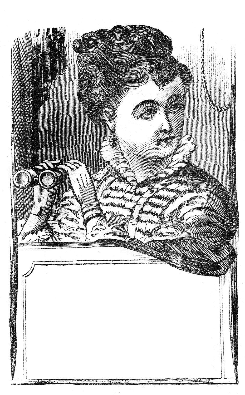 Vintage Clip Art - Marvelous Lady with Binoculars - Label ...