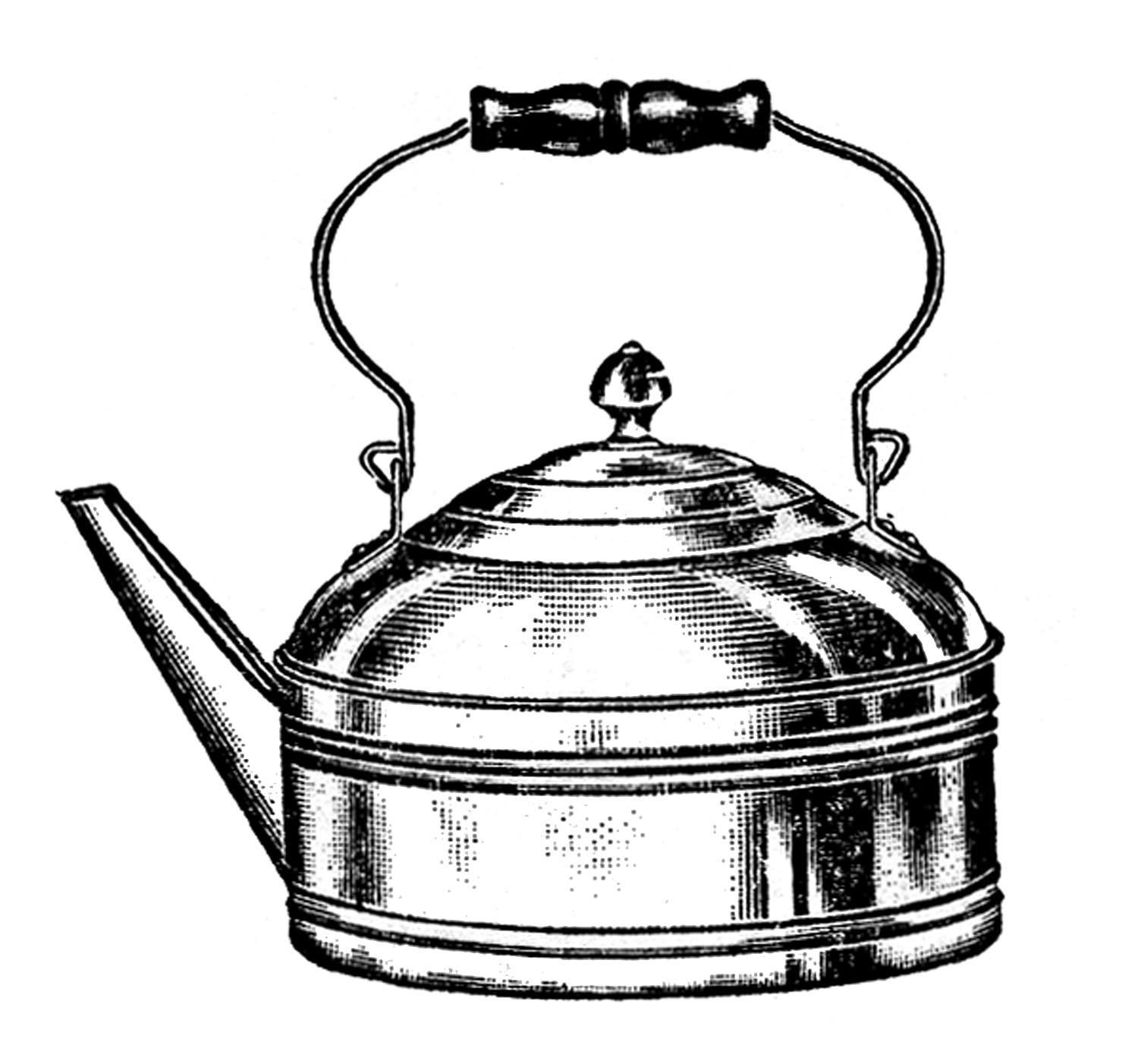 Vintage Kitchen Clip Art - Tea Kettle and Coffee Pots - The ...