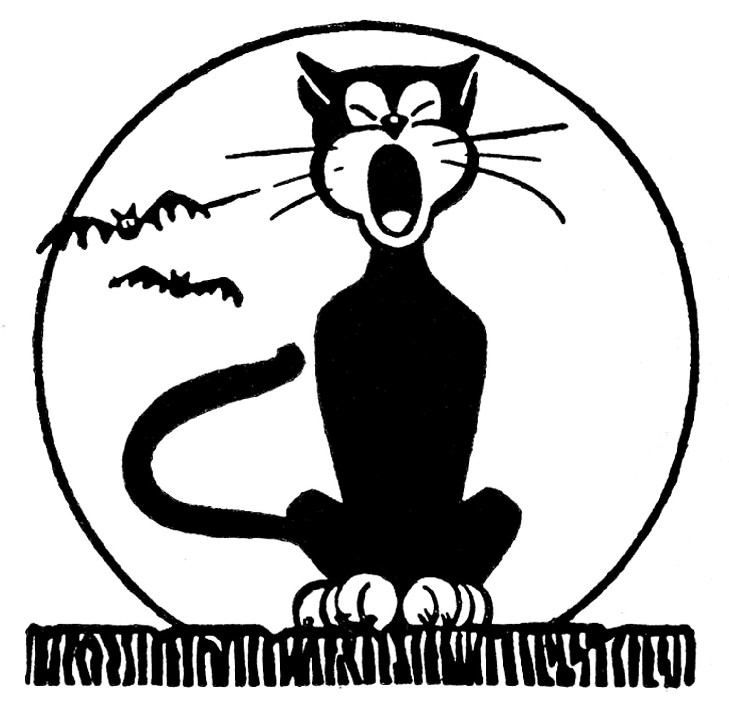 Retro Halloween Clip Art - Black Cat with Moon - The ...