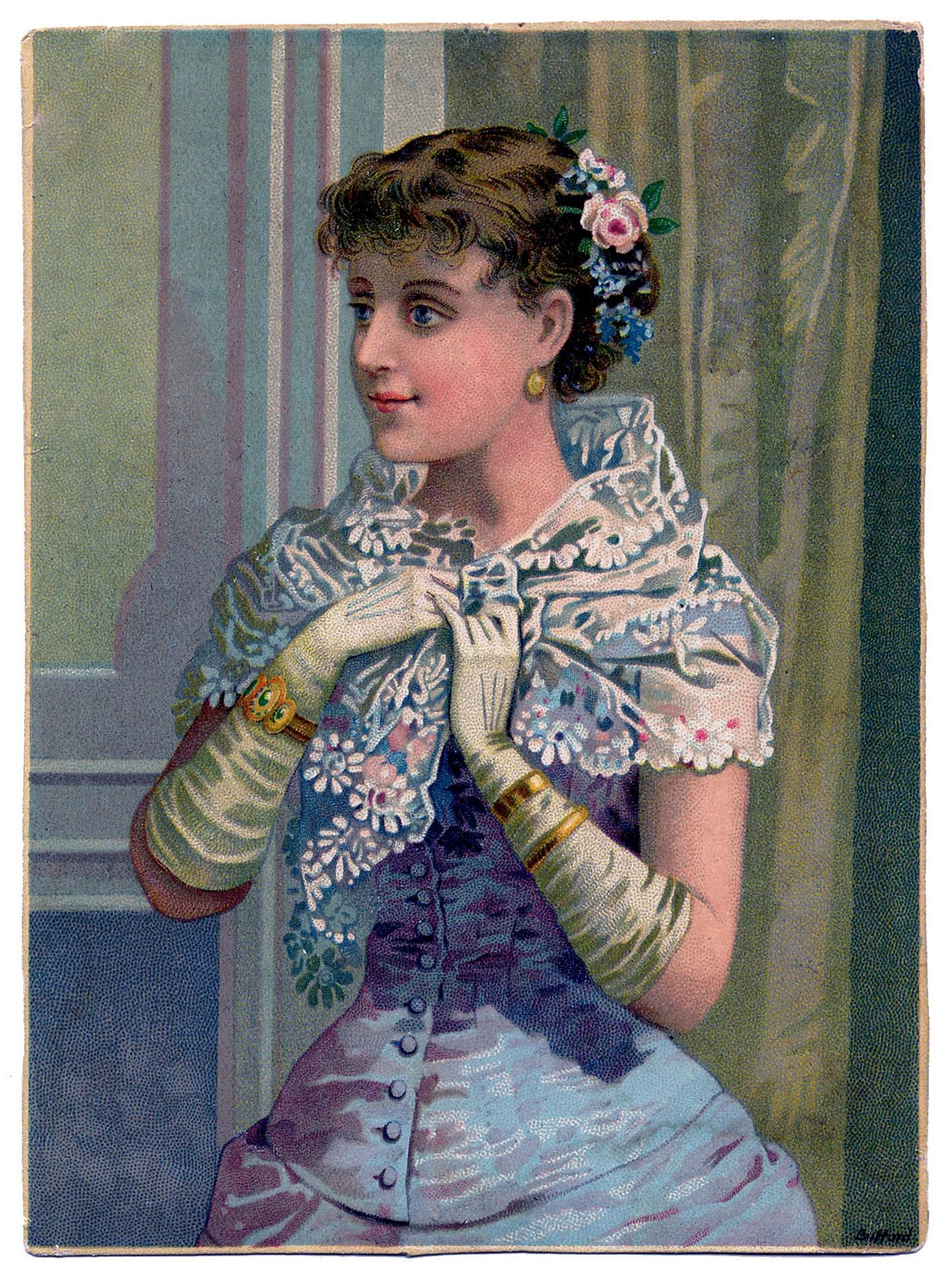 Victorian Clip Art Lovely Woman With Lace Wrap The Graphics Fairy