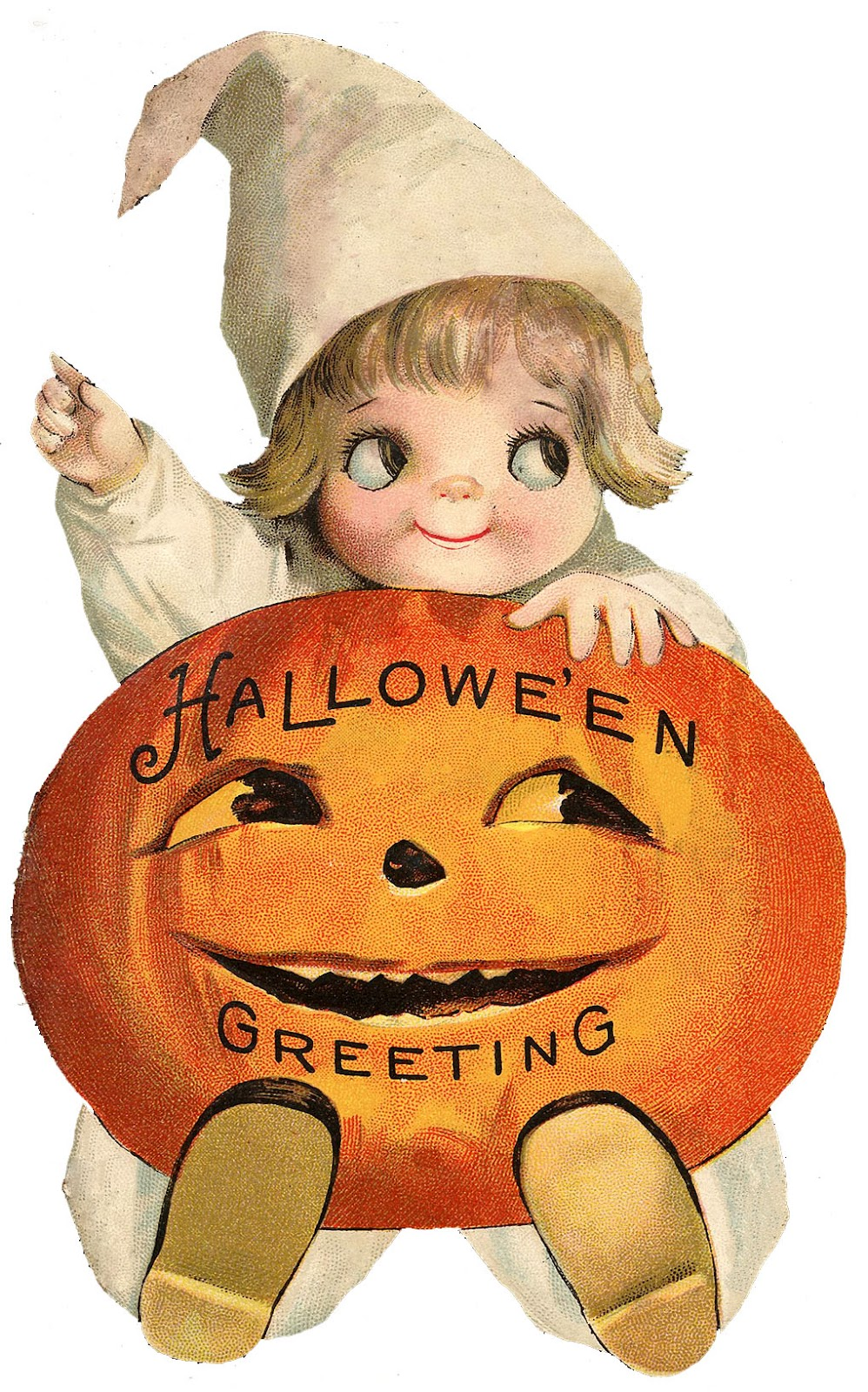 This is an adorable Vintage Halloween Graphic!! Shown is a darling Googly  Eyed Girl with a big Orange Pumpkin on her lap! This image came from an  Antique ...