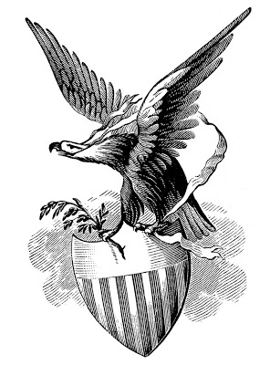 Vintage Patriotic Image - Eagle with Shield
