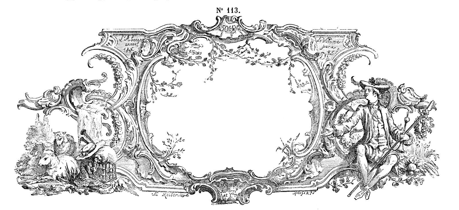 free vintage clip art - gorgeous french frame engraving