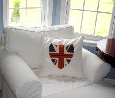 Union Jack Pillow displayed on Chair