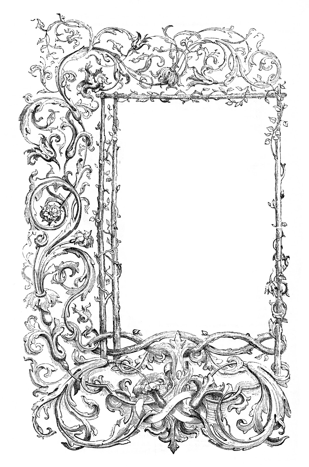 Vintage clip art faux bois frames with scrolls the for How to make vintage frames