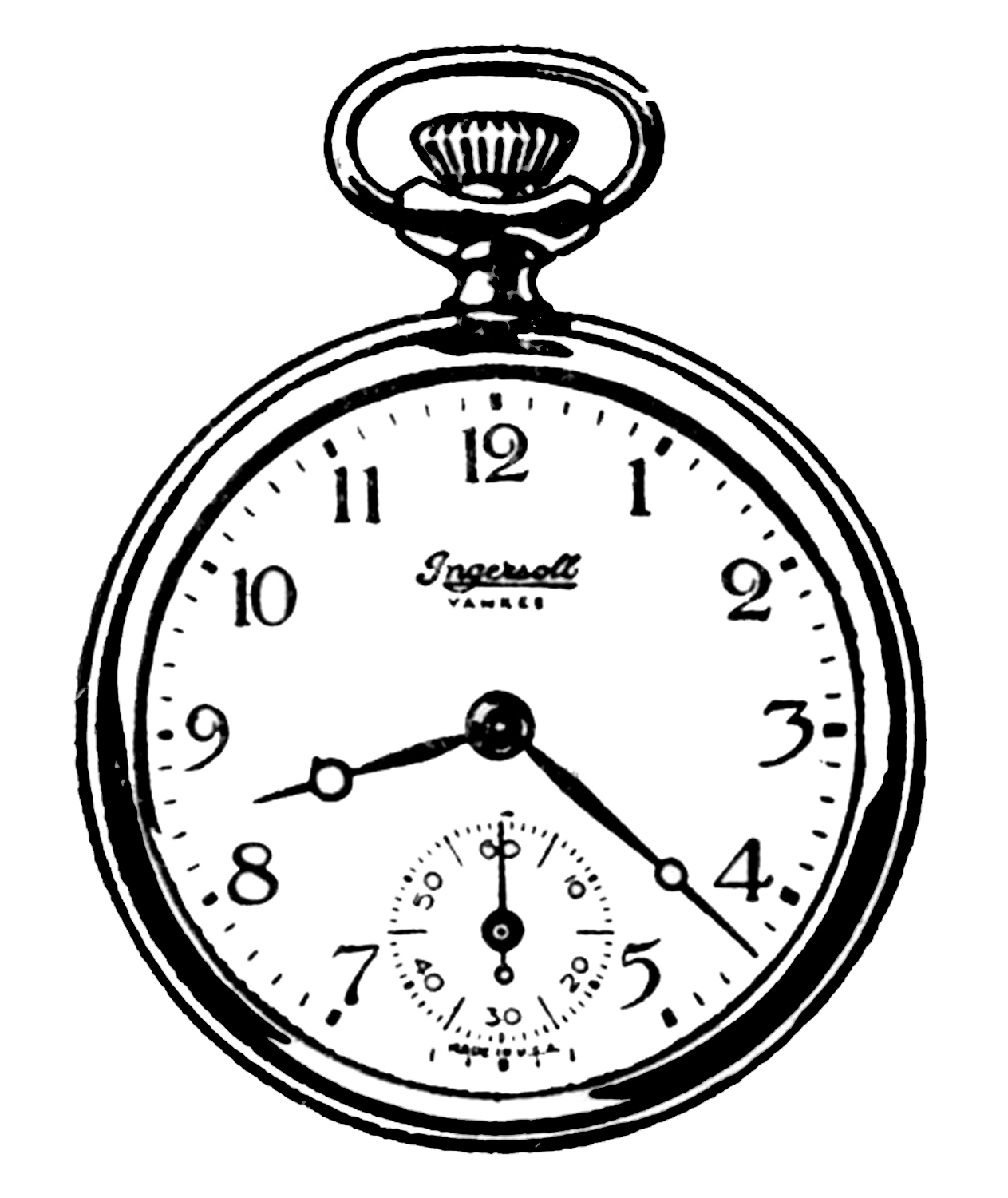 f2cf6d4ec39 Vintage Clip Art - Black and White Pocket Watches - The Graphics Fairy