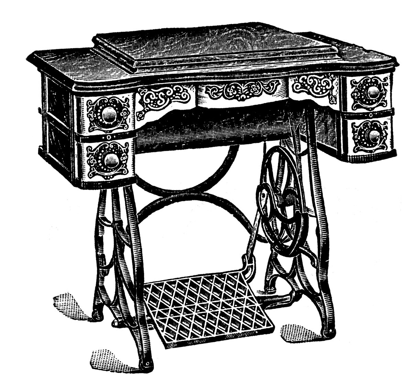 vintage clip art antique sewing machine table the graphics fairy. Black Bedroom Furniture Sets. Home Design Ideas
