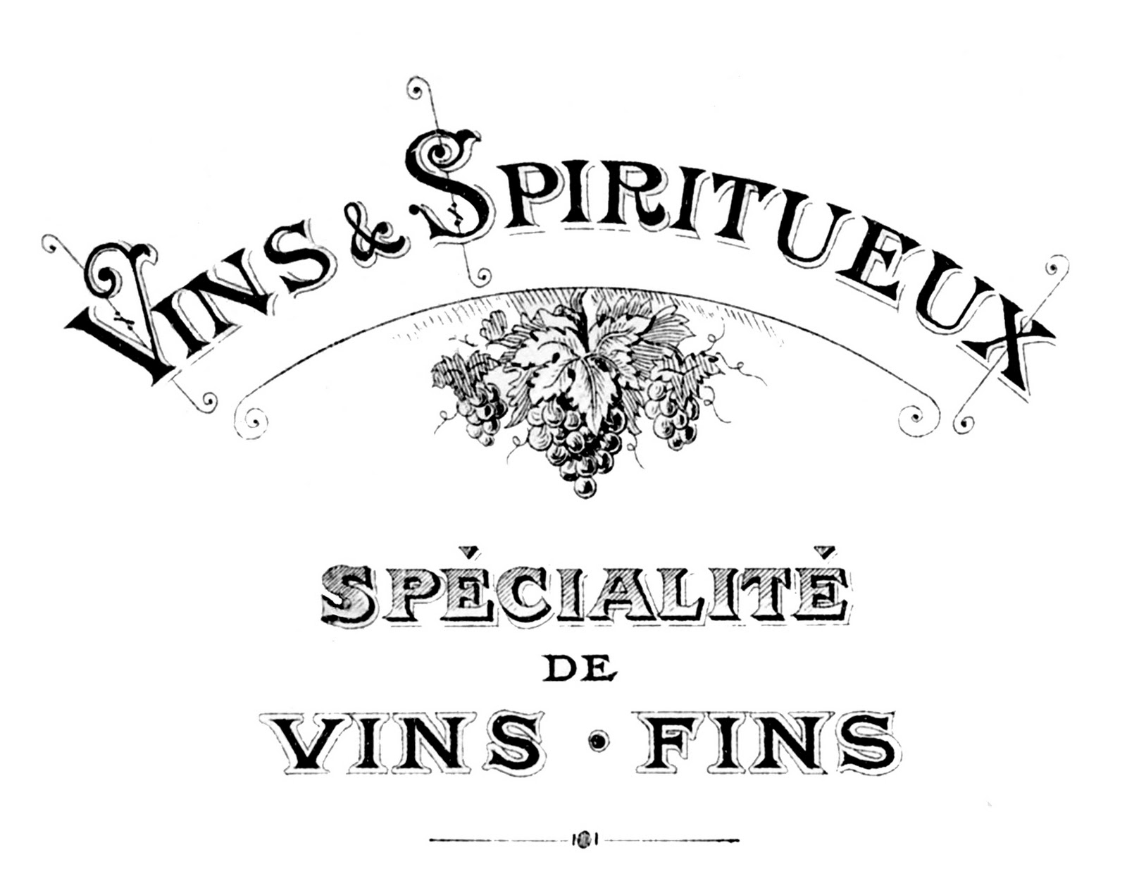 French Transfer Printable Wine Theme Typography The