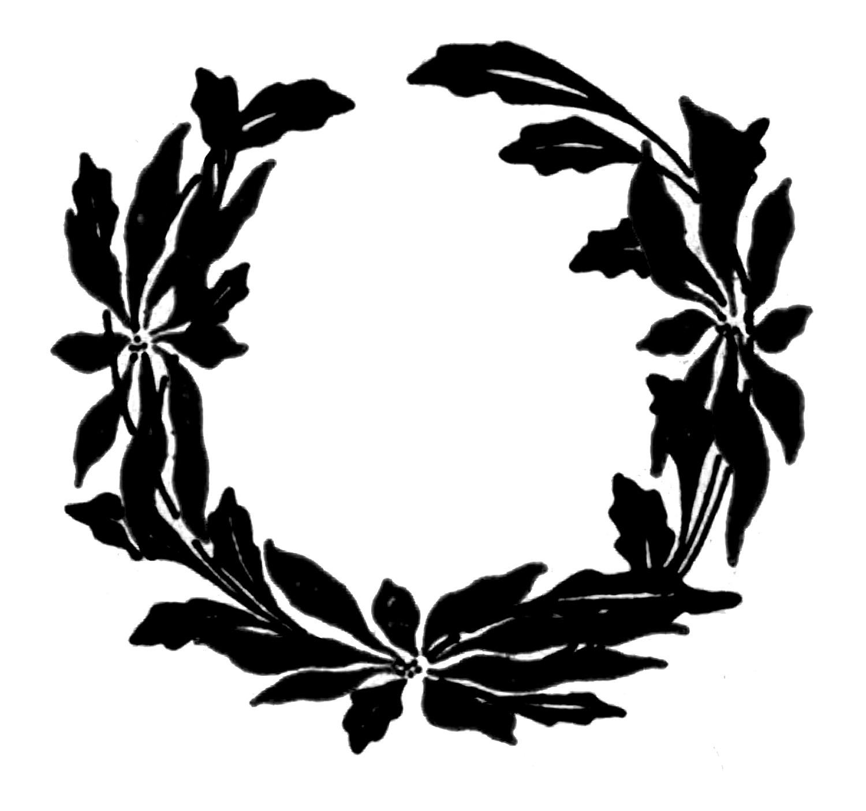Vintage Christmas Clip Art - Poinsettia Wreaths - The Graphics Fairy