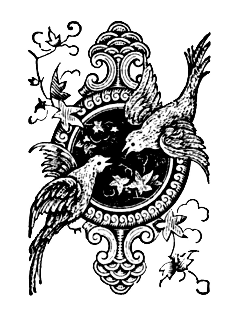 Vintage Bird Art Black And White Vintage Clip Art - Pri...