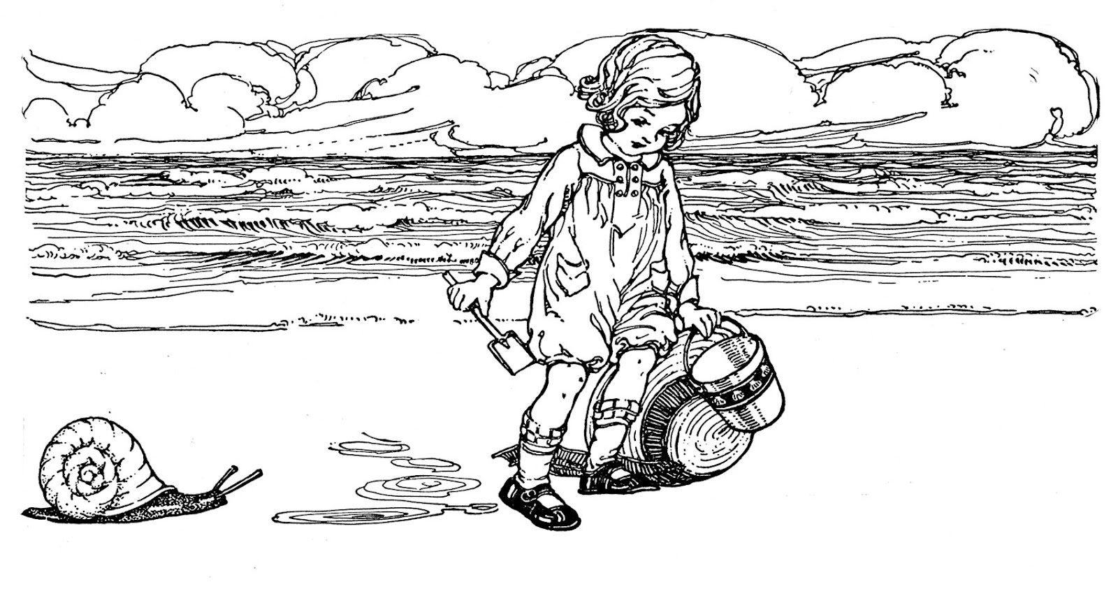 Vintage Sketch - Adorable Child at the Beach - The ...