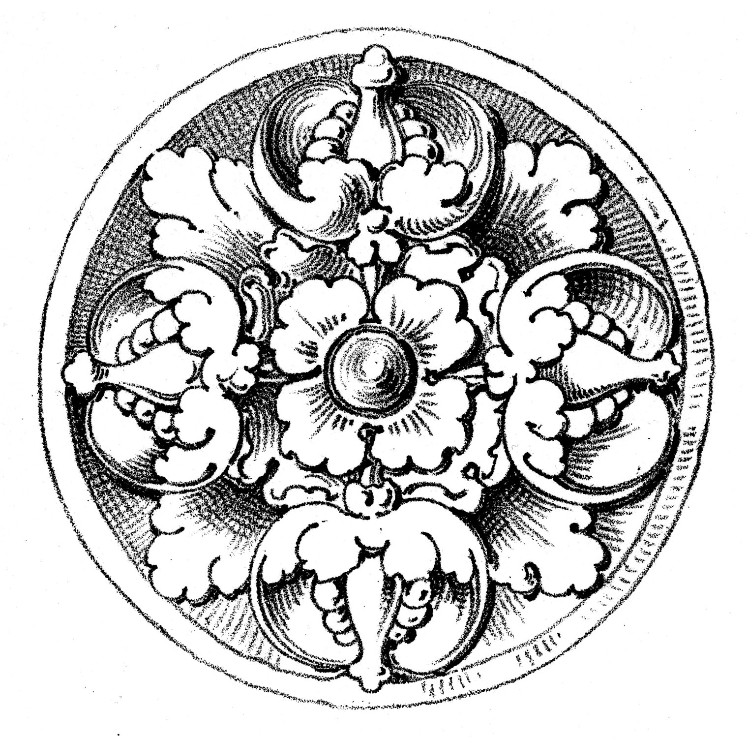 old world graphics - medallions - rosettes