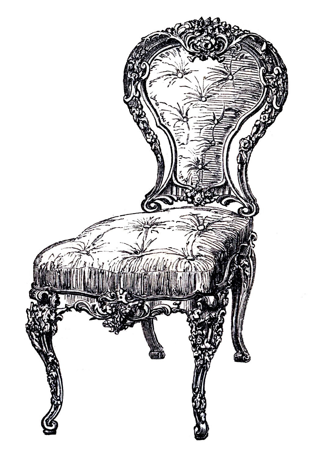 Antique chair drawing - Vintage Clip Art Frenchy Chair 4 Options