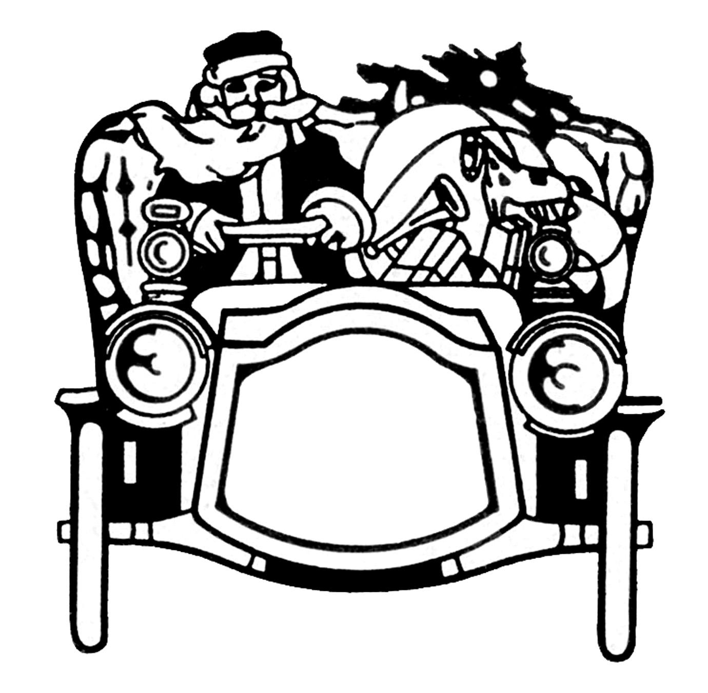 Vintage Christmas Clip Art - Santa in Automobile - The Graphics Fairy