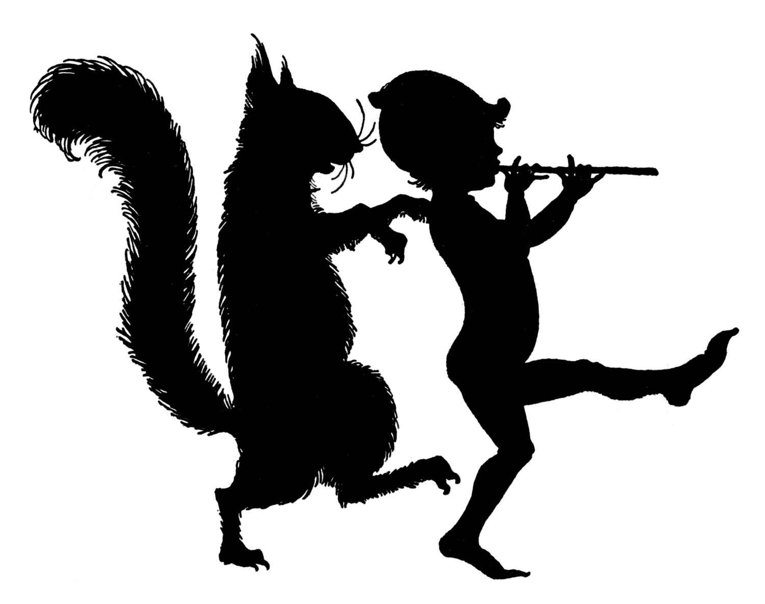 Vintage Clip Art - Elf with Squirrel - Silhouettes - The ...