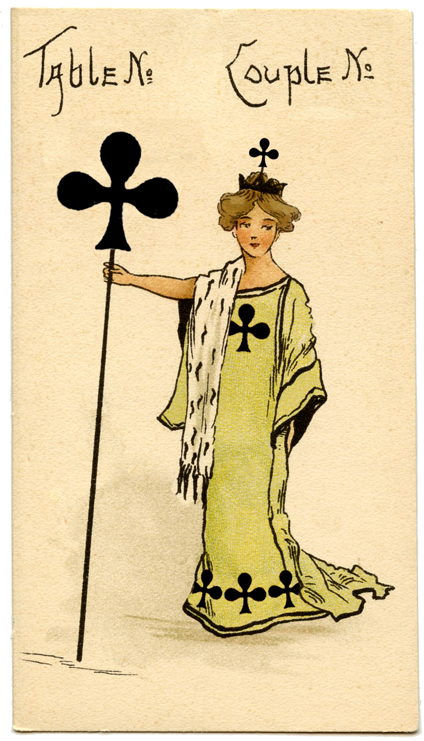 Vintage Ephemera Graphic - Queen of Clubs - The Graphics Fairy