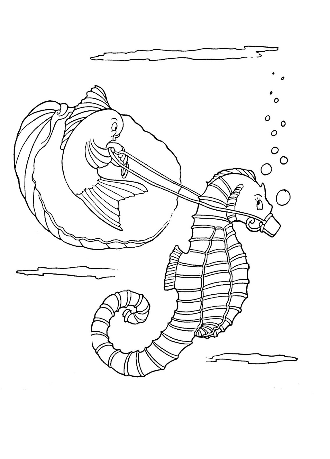 Kids Printable - Seahorse Coloring Page - The Graphics Fairy