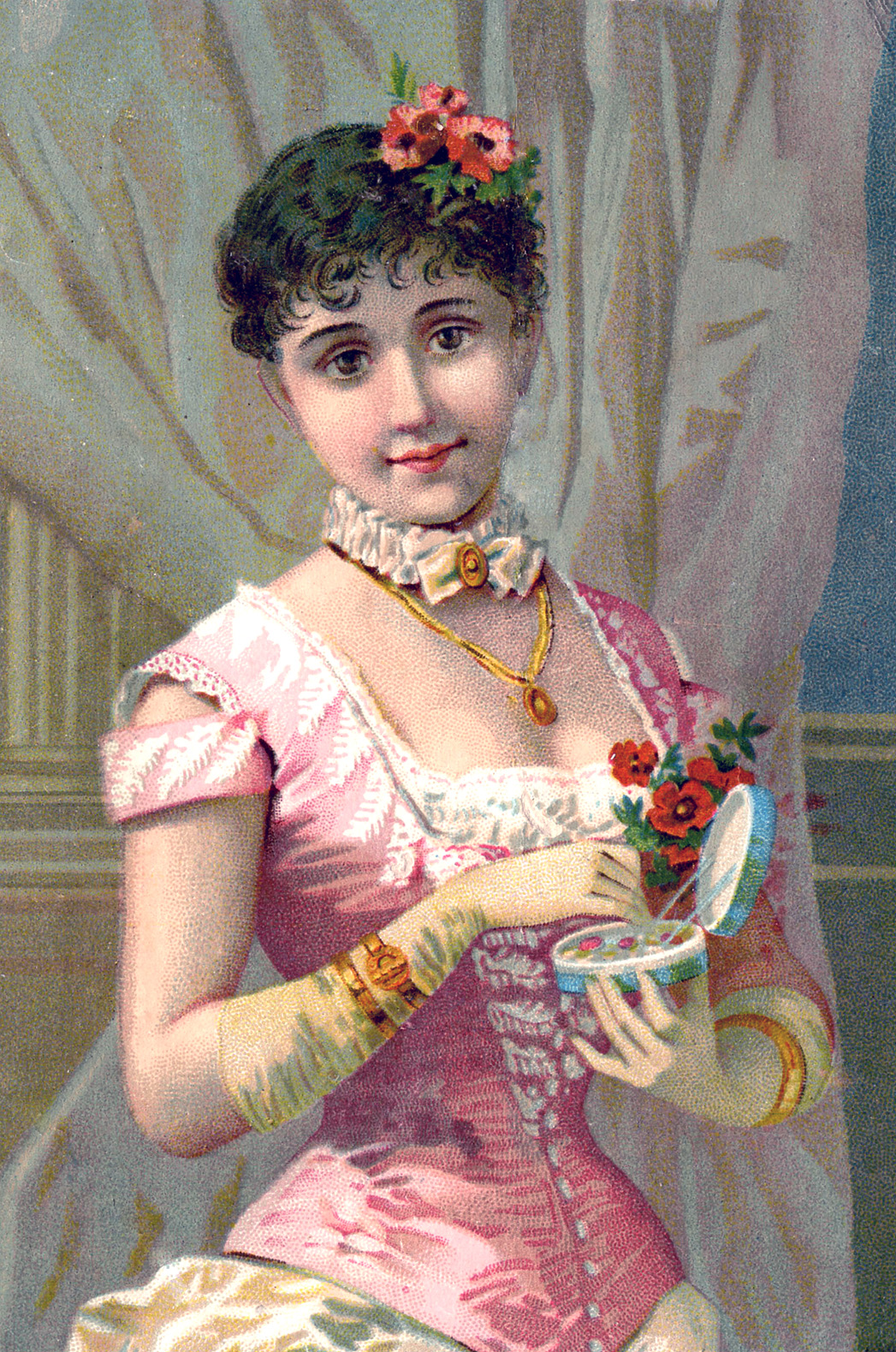 victorian image - fashionable woman with gloves