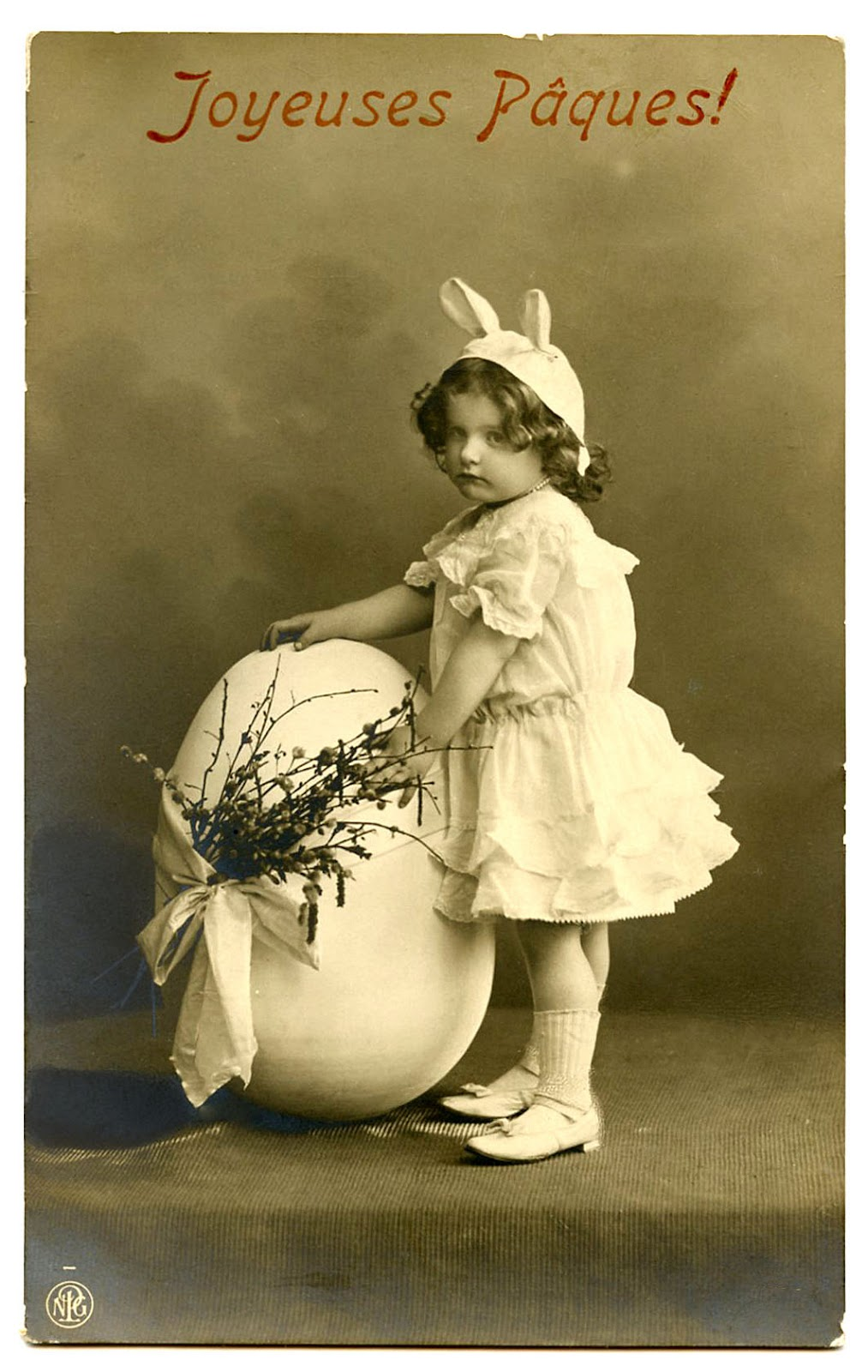 Old Photo Darling Girl In Easter Bunny Costume The Graphics Fairy