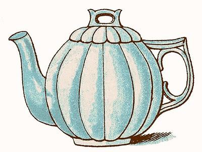Vintage Clip Art Images - Adorable Pastel Teapots - The Graphics Fairy