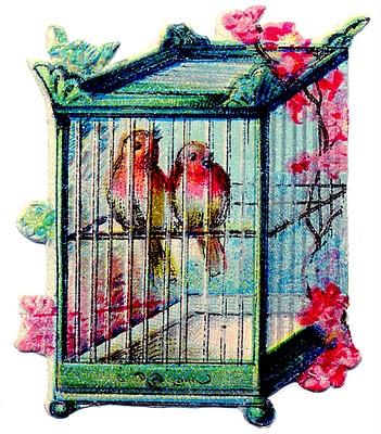vintage clip art pretty birds  asian style bird cage