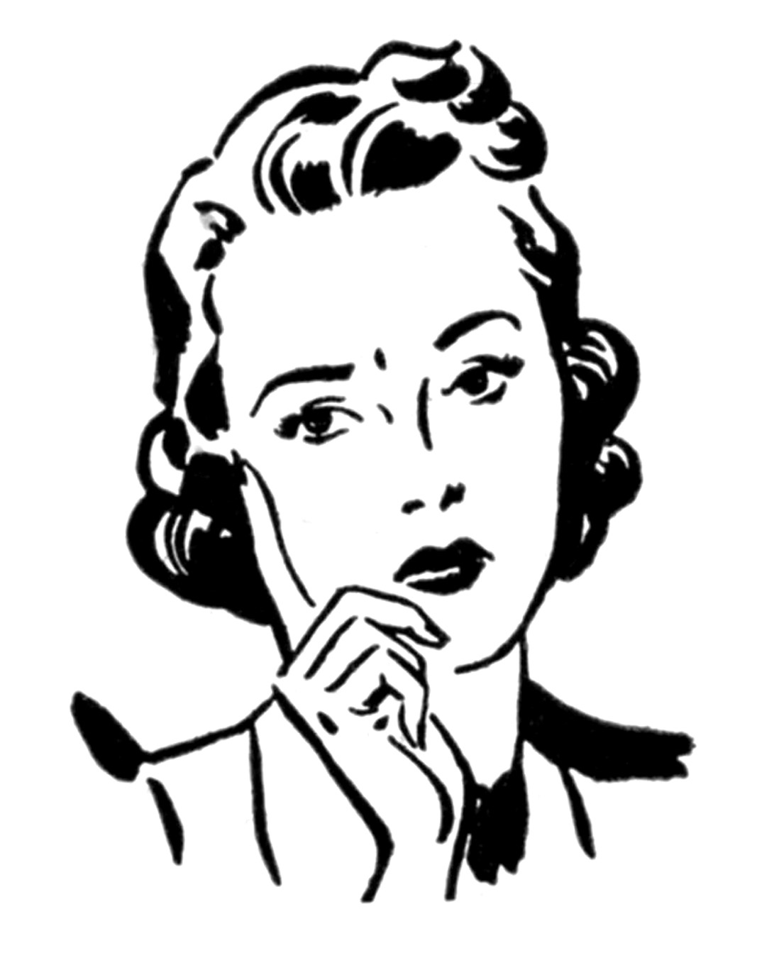 retro clip art - money moms - women