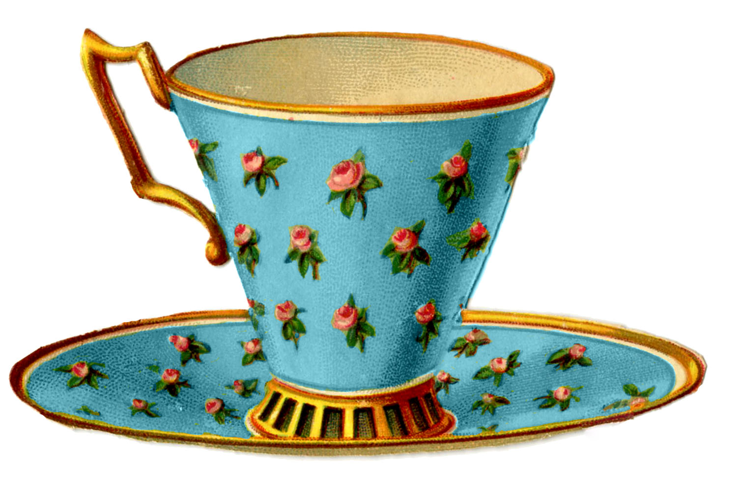 Charming Vintage Tea Cups Part - 13: Vintage Graphics - 3 Pretty Teacups With Roses - The Graphics Fairy