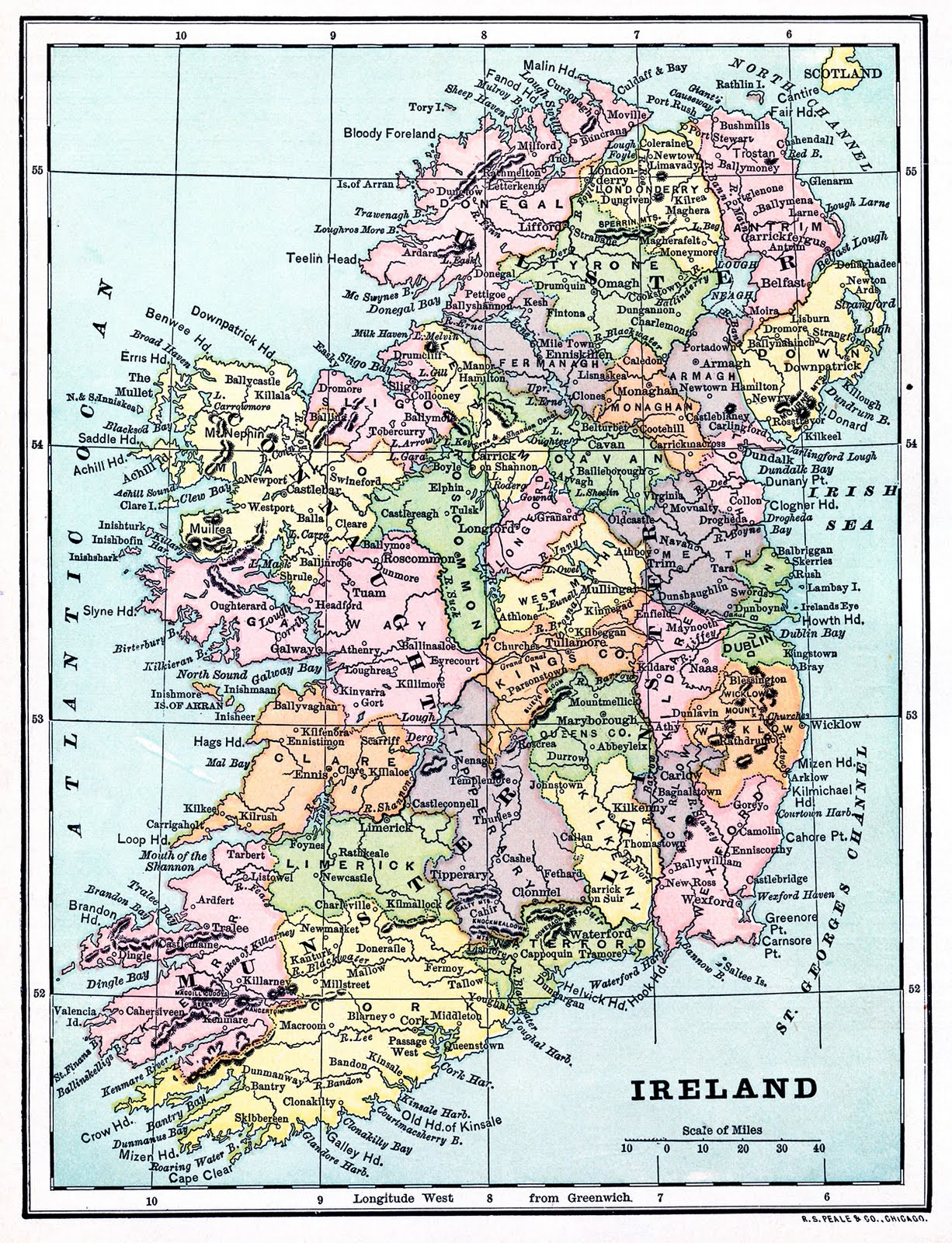 Légend image in printable map of uk and ireland