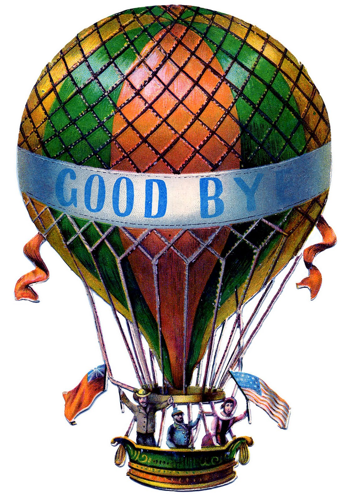 Antique Graphic - Hot Air Balloon - Steampunk