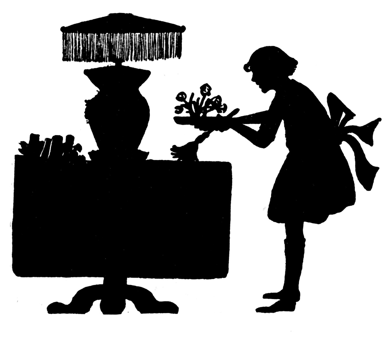 Vintage Clip Art Silhouettes Cleaning Up The