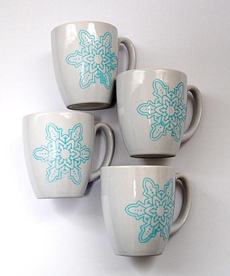 Diy Painted Snowflake Mugs Repurposed The Graphics Fairy