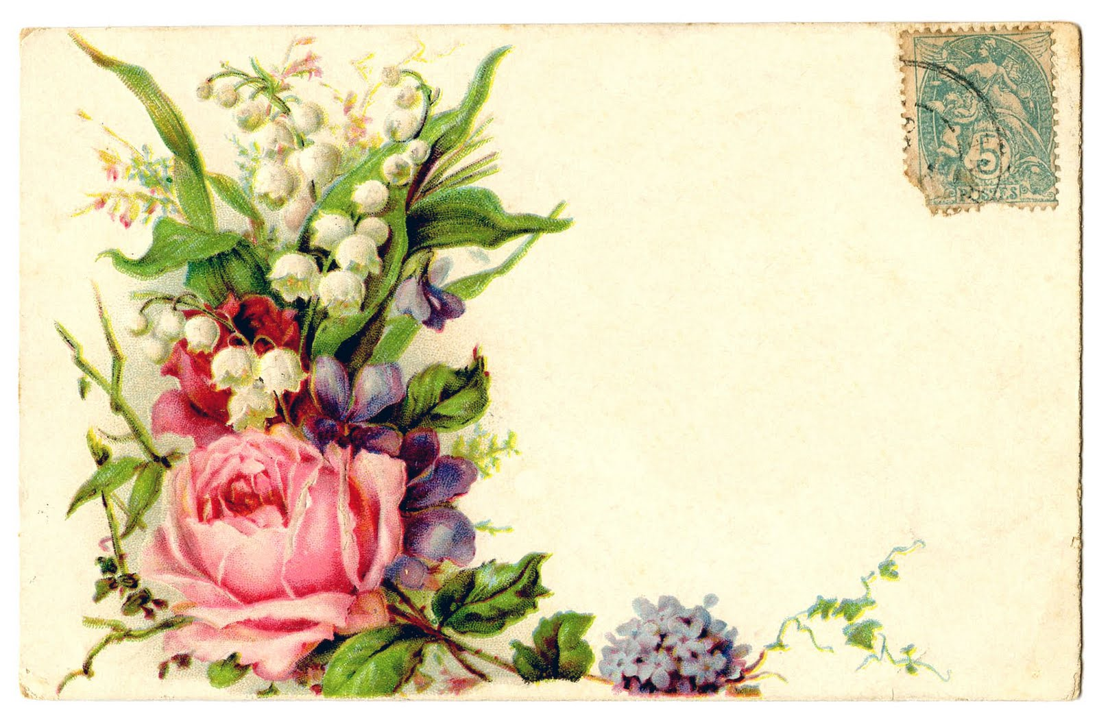 Vintage Clip Art     Card with Floral Spray     RoseVintage Rose Clip Art
