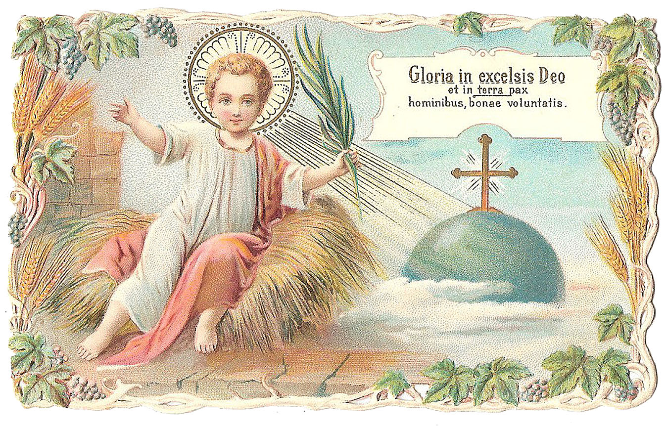 Vintage Christmas Image Baby Jesus In Manger The