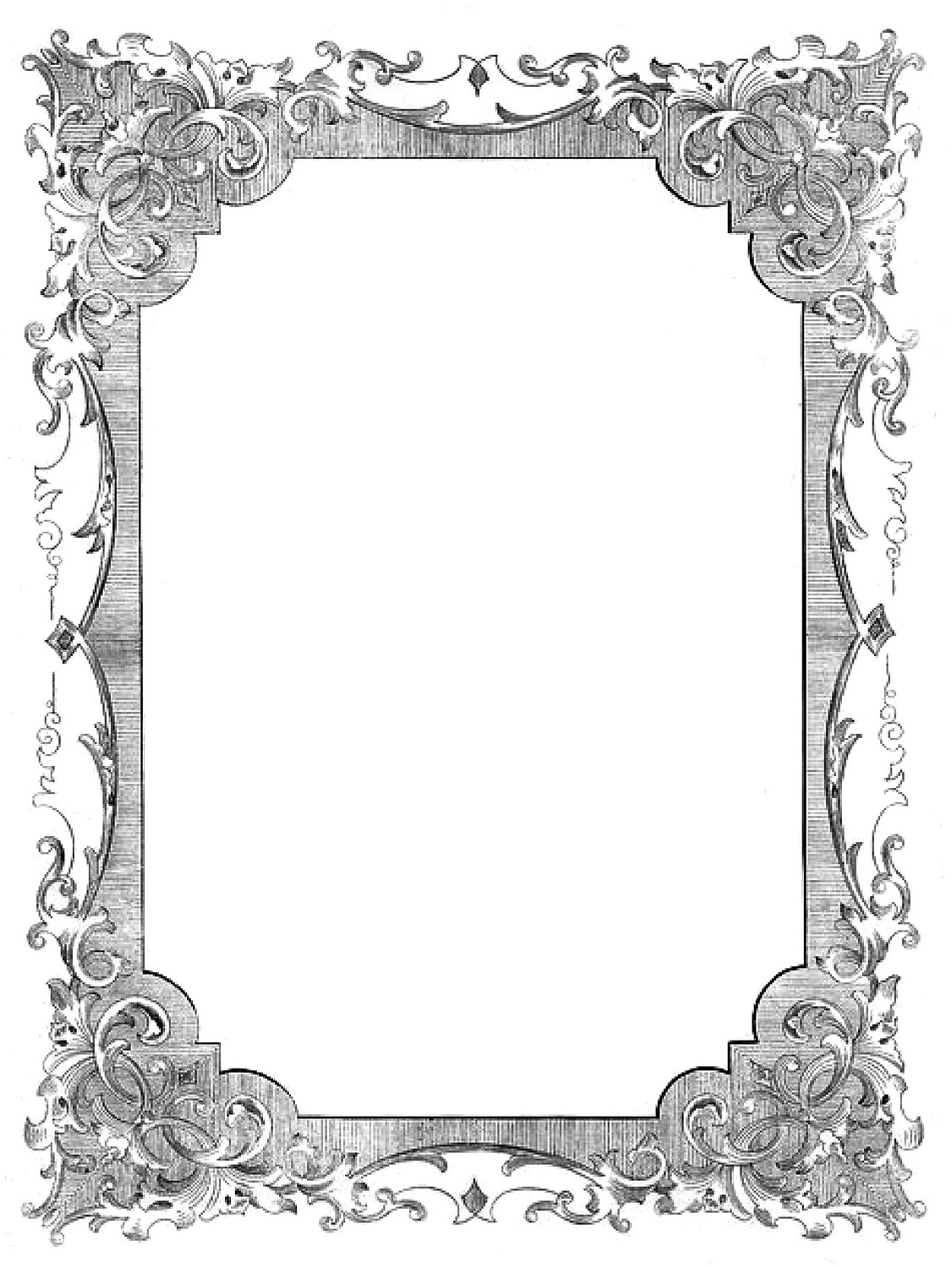 Vintage Clip Art Romantic Frames Christmas Colors