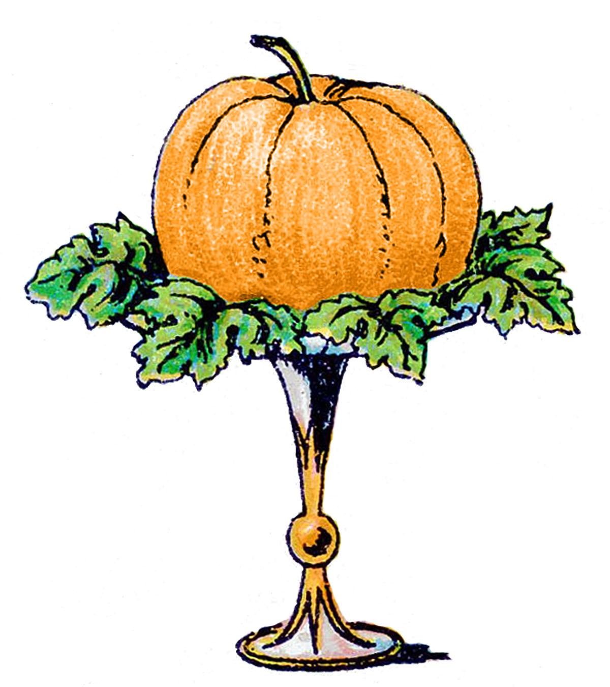 Vintage Clip Art - Pumpkin on a Pedestal - The Graphics Fairy