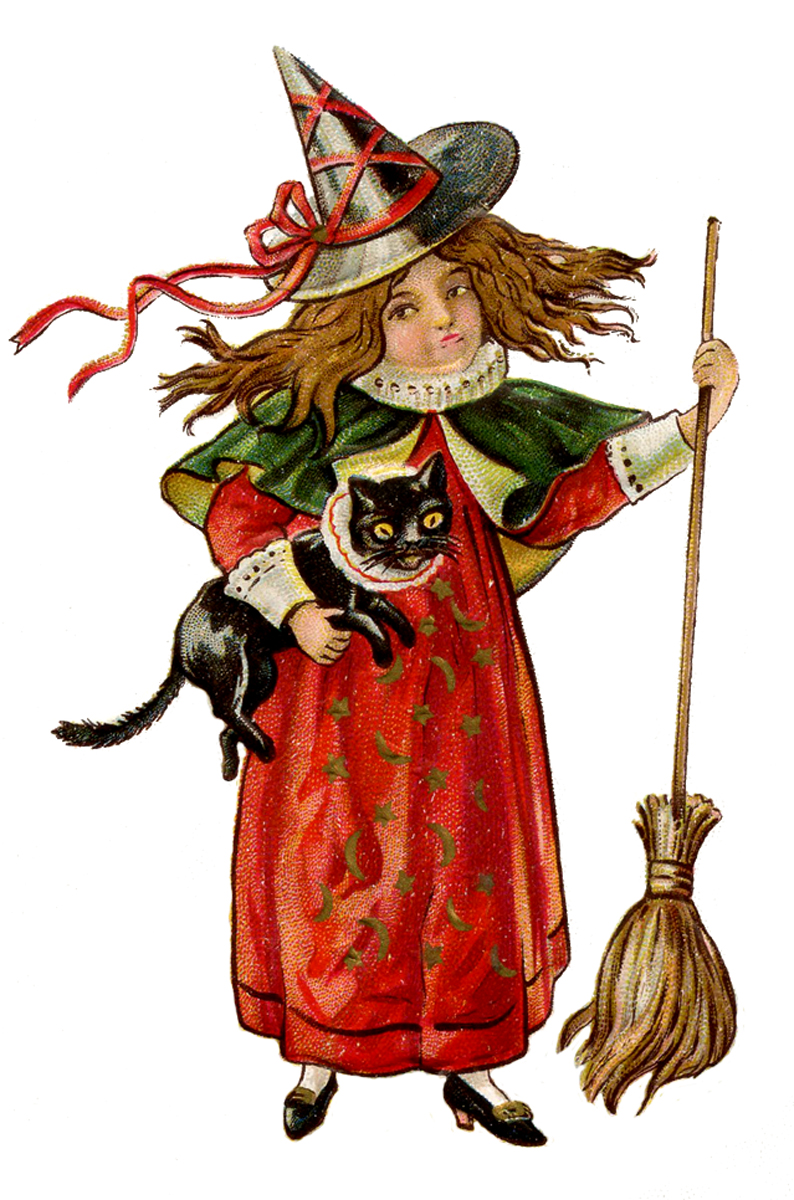 antique halloween image little witch girl with cat the