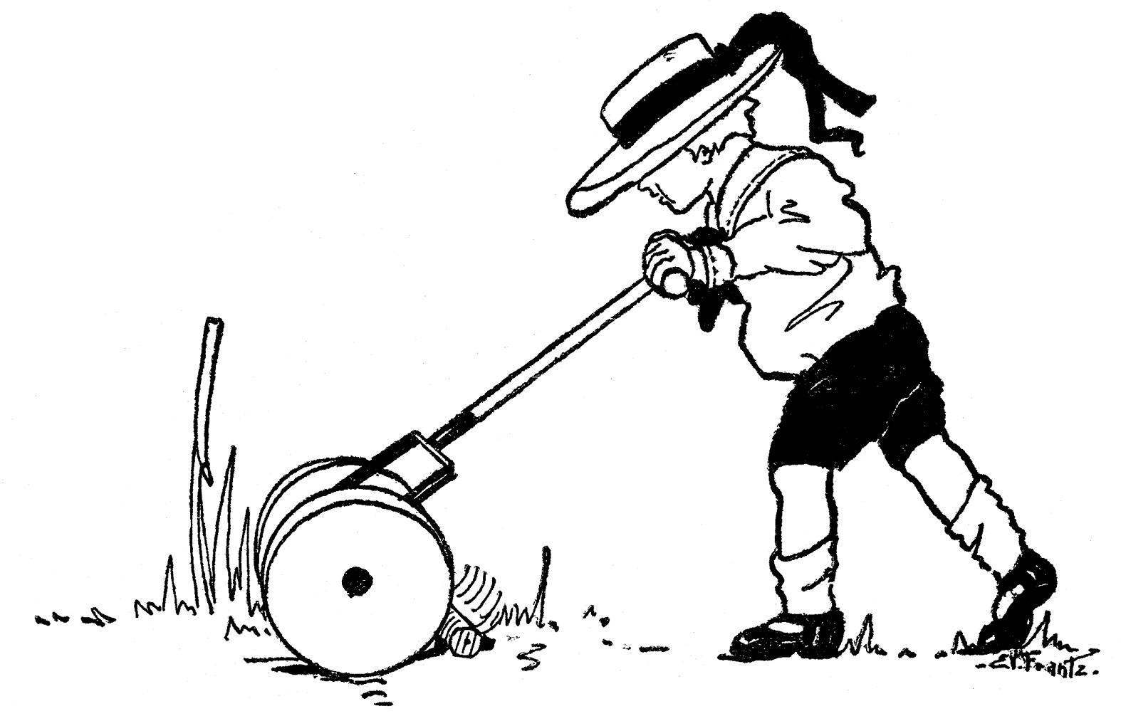Vintage Summer Clip Art - Boy with Lawn Mower - The ...