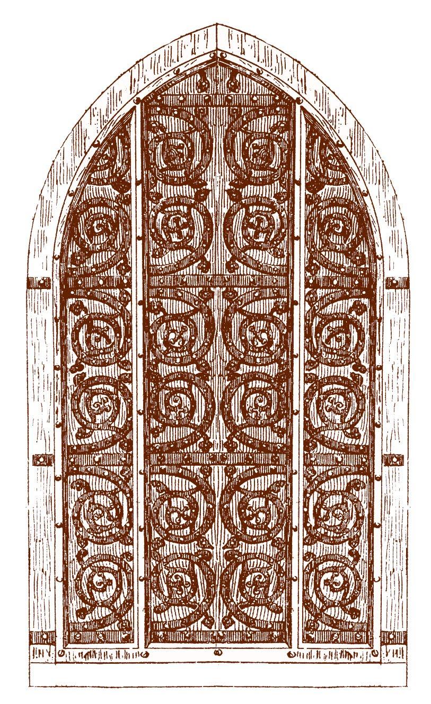 Vintage Clip Art Gothic Door Harry Potter Esque 2