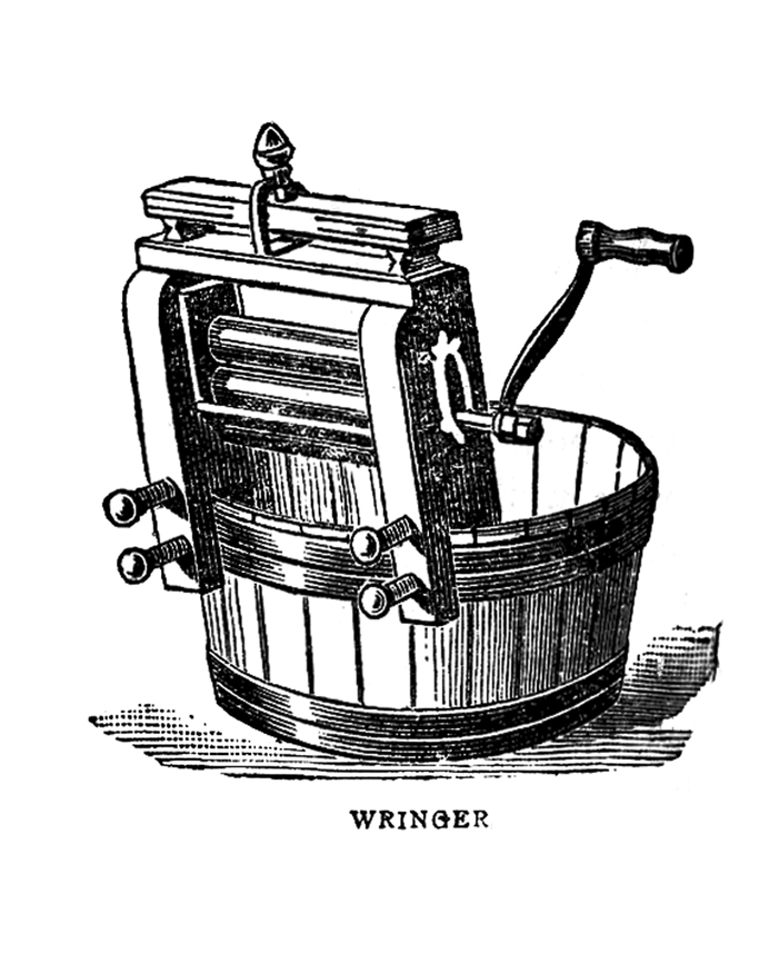 Vintage Graphic Images - Laundry - Wringer and Iron - The
