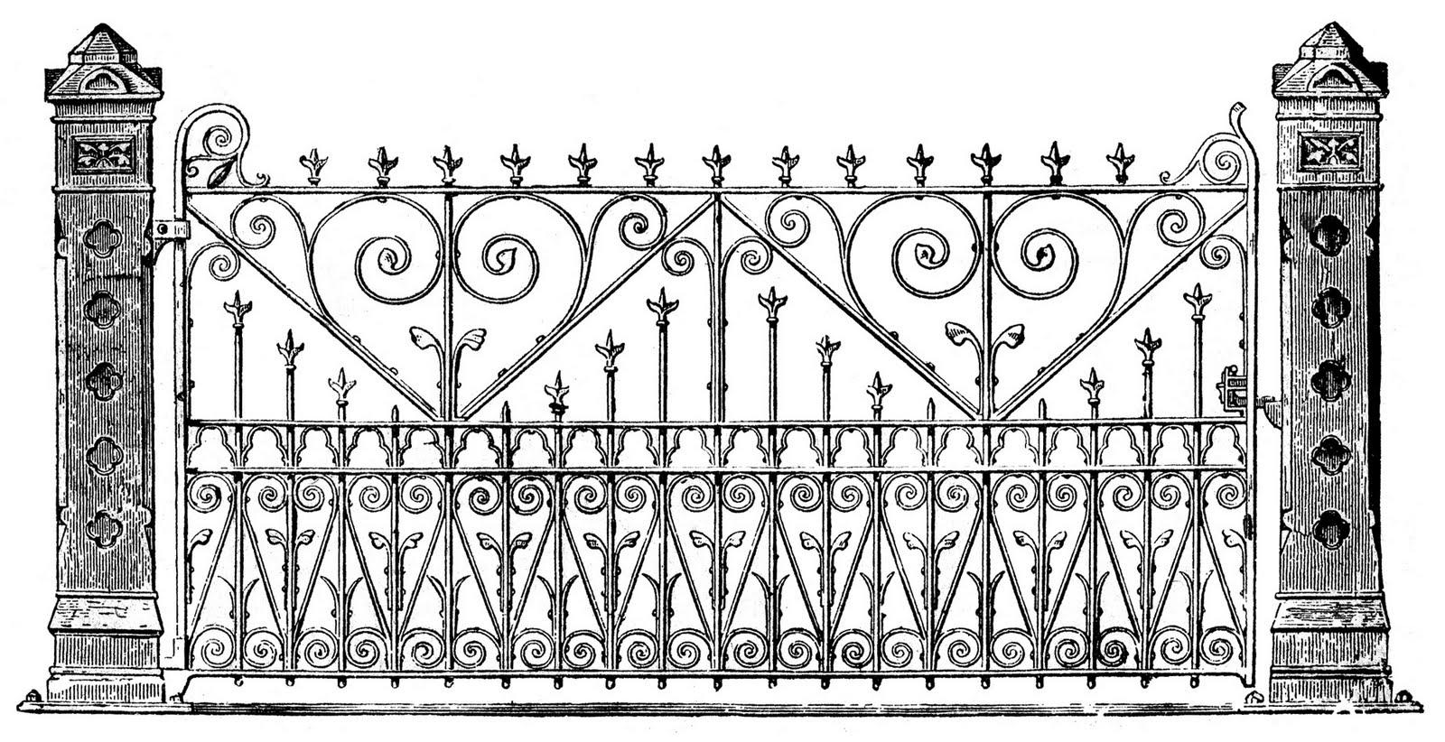 Victorian Clip Art - Ornate Iron Gate - The Graphics Fairy