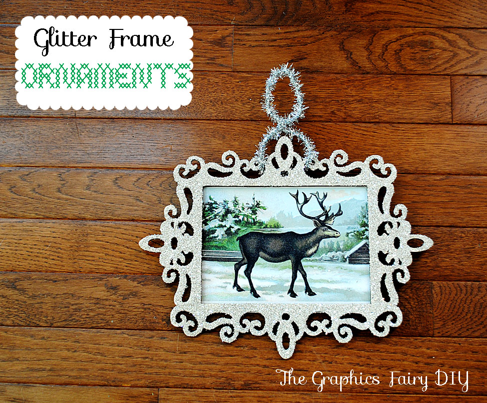 Christmas Tree Ornaments Picture Frames : How to make glitter frame ornaments the graphics fairy