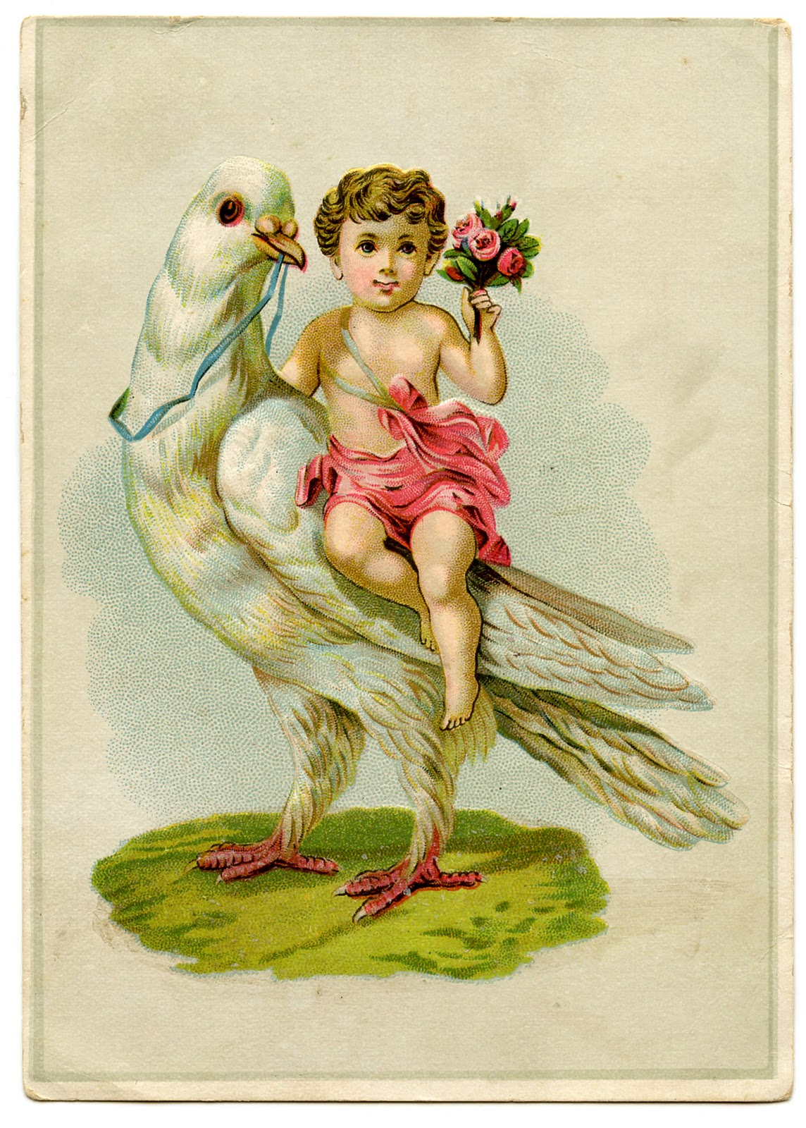 vintage valentine graphic   cherub riding a dove   the