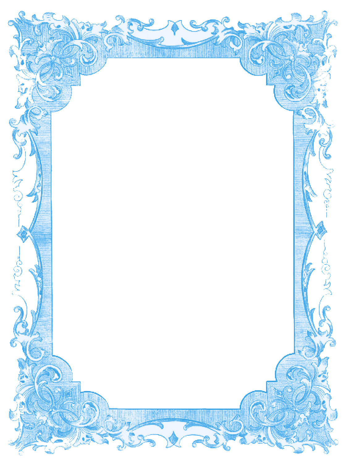 Vintage Blue Frames and Stars - Hanukkah - The Graphics Fairy