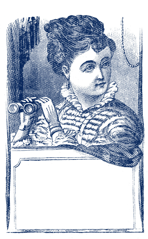 Vintage Clip Art Marvelous Lady With Binoculars Label