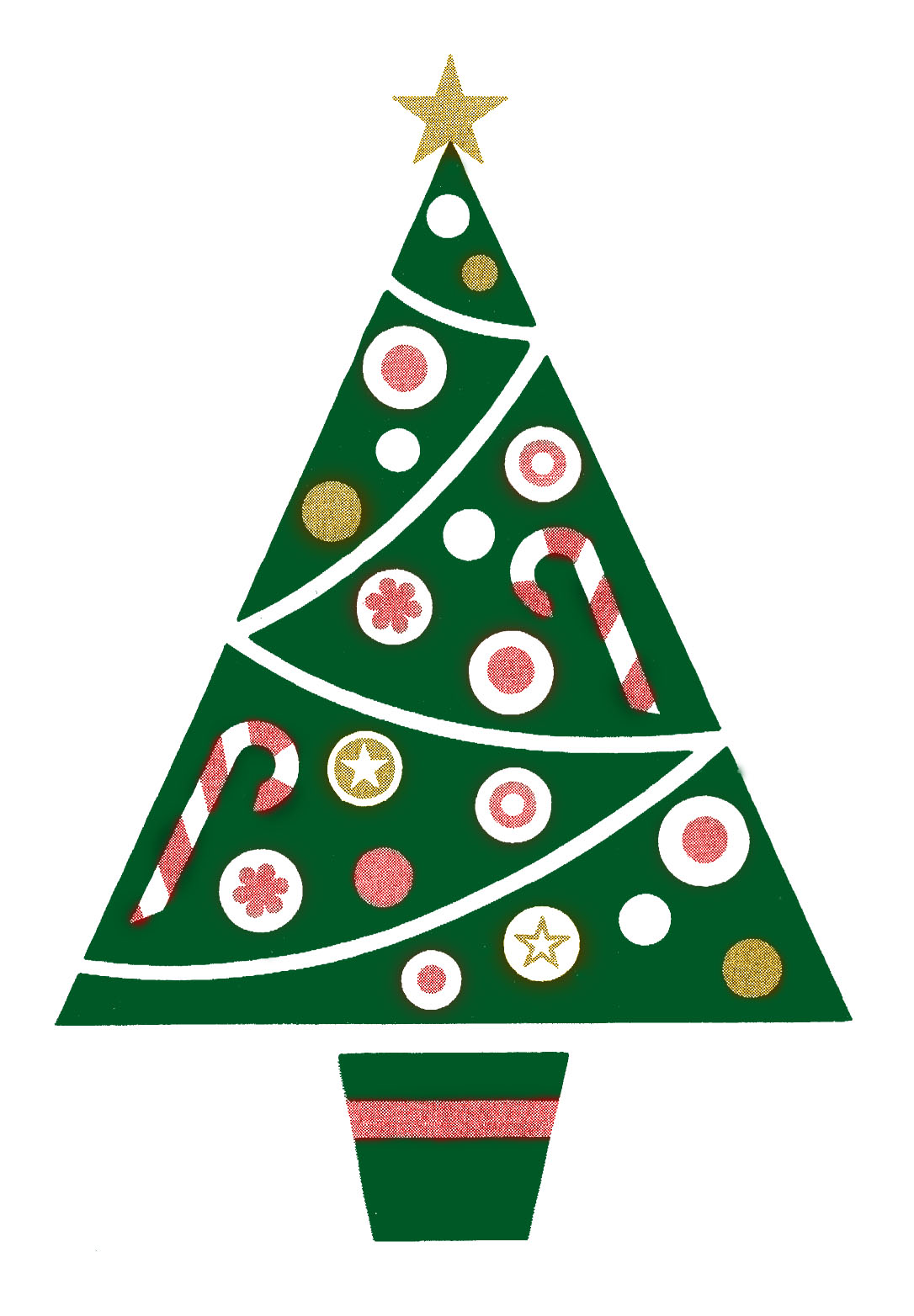 Retro Clip Art - Fun and Funky Christmas Tree - The Graphics Fairy