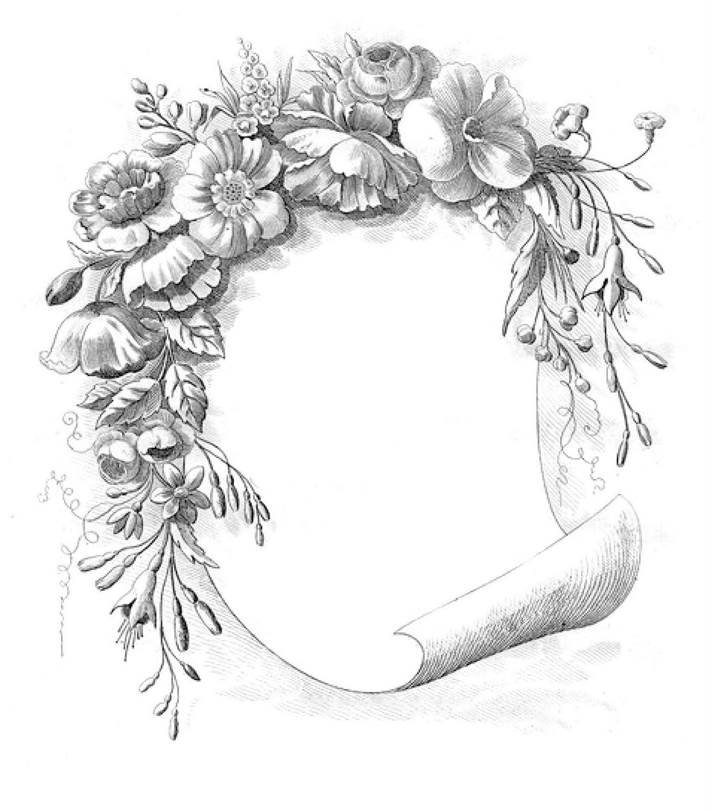 Vintage Clip Art Gorgeous Floral Frame The Graphics Fairy