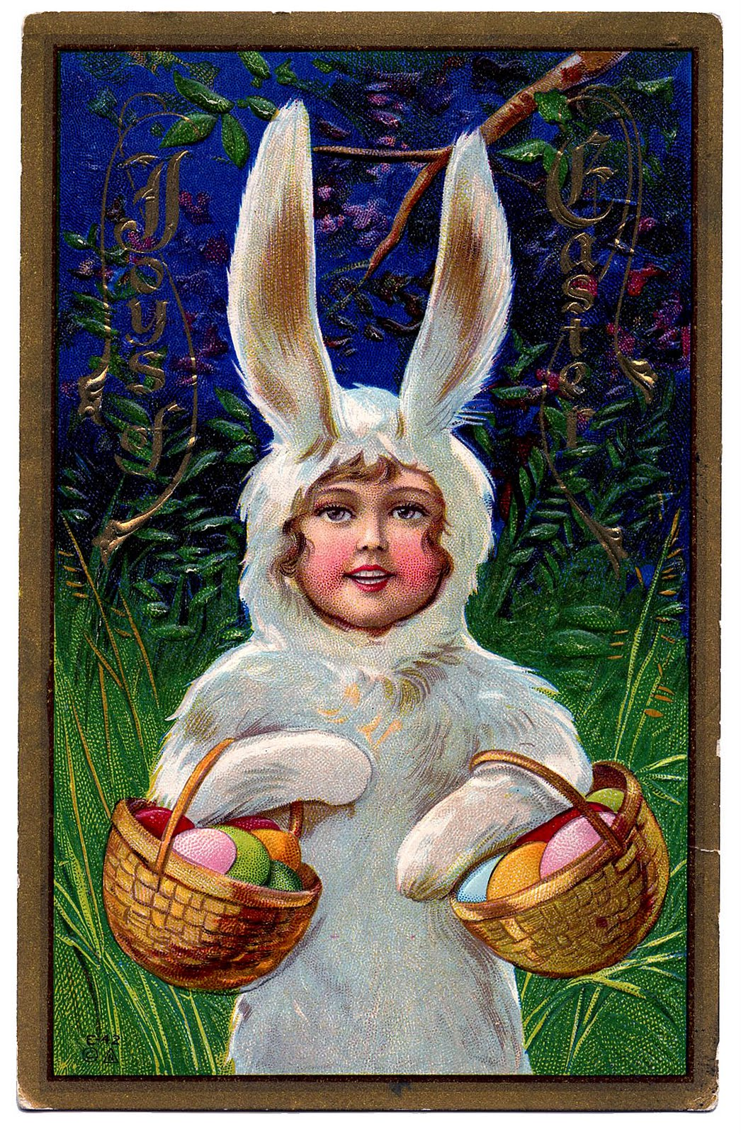 Vintage Easter Clip Art Sweet Girl In Bunny Suit