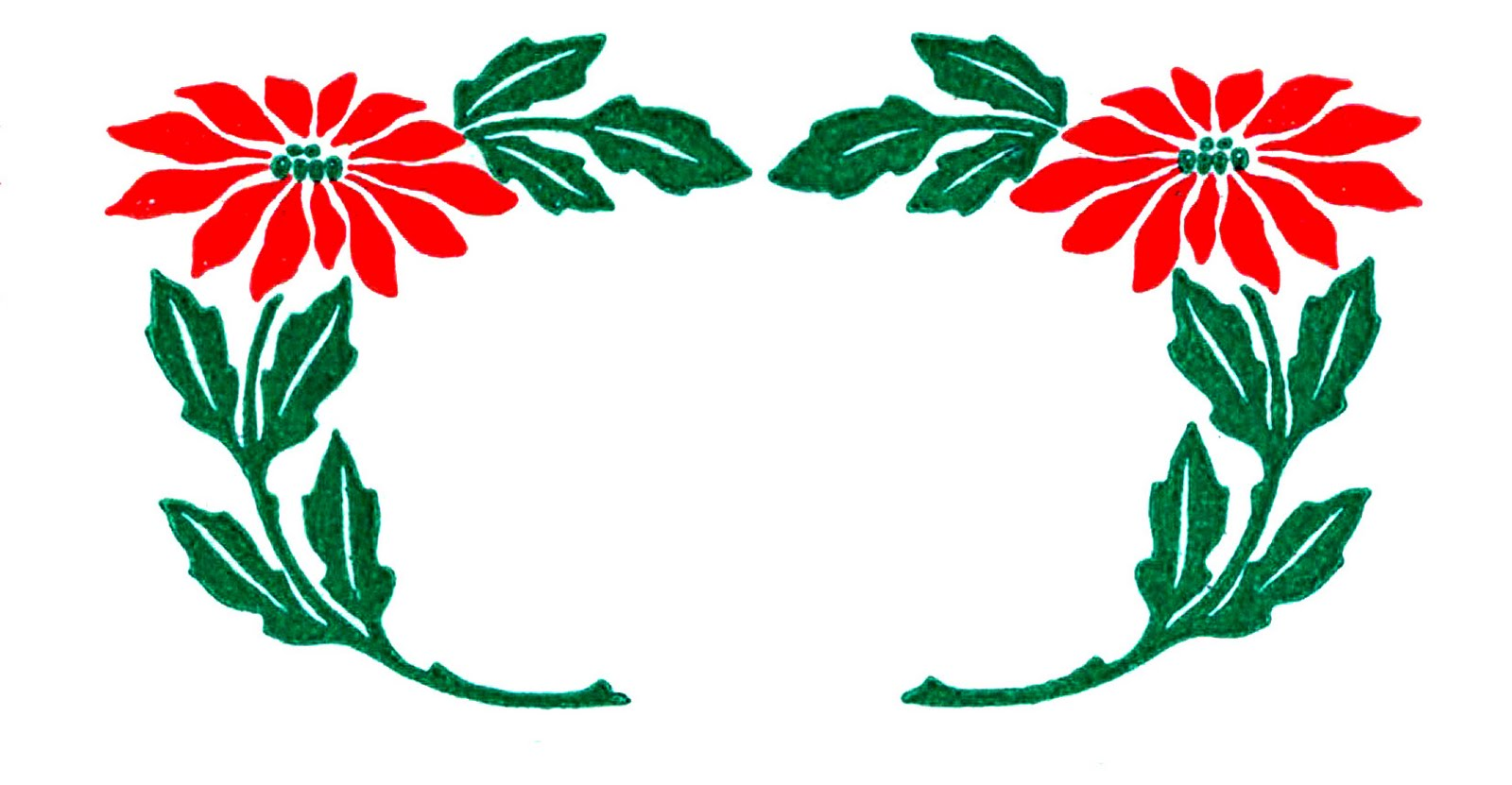 Vintage Christmas Clip Art - Poinsettia Wreaths - The Graphics Fairy