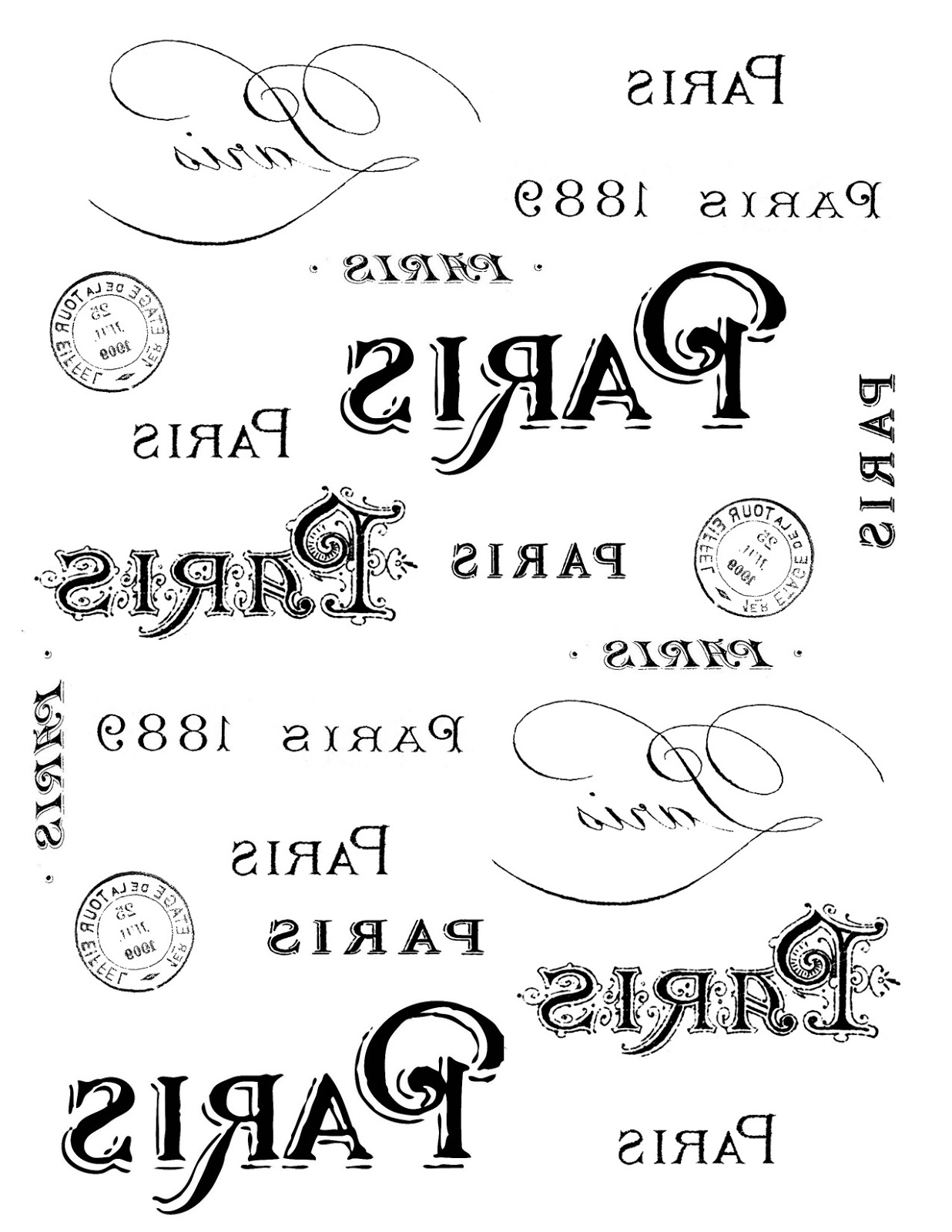 French Transfer Printable - Paris Typography - The