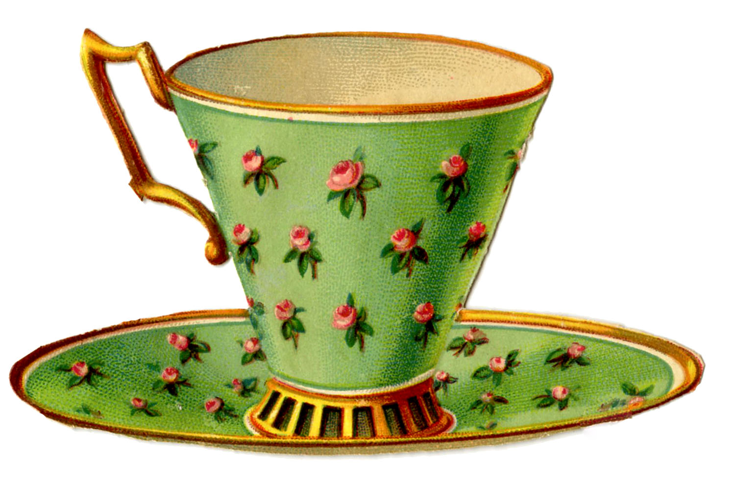 3 Pretty Teacups With Roses